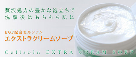 EGF配合クリームソープ 豊かな泡立ちで洗顔後はもちもち肌に